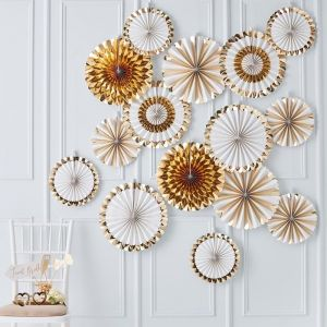 Paperfans Goudfolie-Wit Gold Wedding (15 st) Ginger Ray