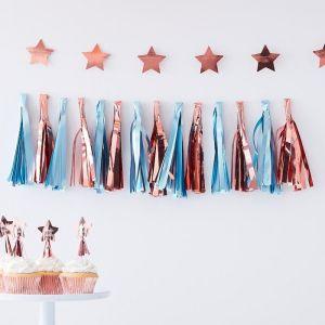 Tasselslinger blauw roségoud Twinkle Twinkle Ginger Ray sfeer