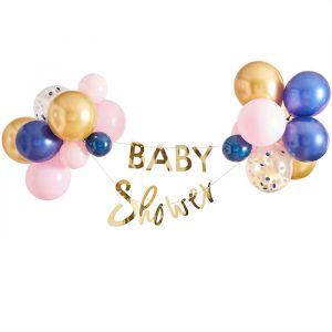 Slinger met ballonnen Navy & Pink Babyshower Ginger Ray