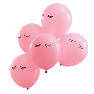 Ballonnen Sleepy Eye roze Pamper Party (5st) Ginger Ray