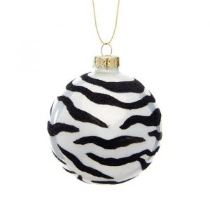 Kerstbal zebra print Sass & Belle