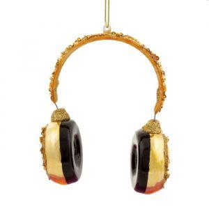 Kersthanger gouden koptelefoon Sass & Belle