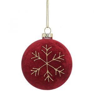 Kerstbal sneeuwvlok rood Sass & Belle