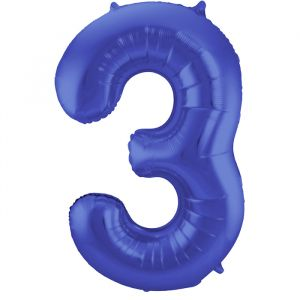 86cm Folieballon Metallic Mat Cijfer 3 Blauw