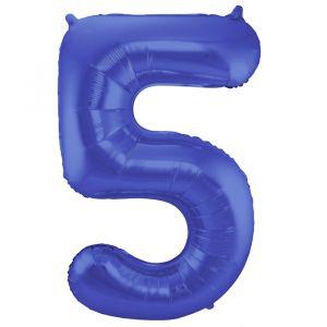 86cm Folieballon Metallic Mat Cijfer 5 Blauw