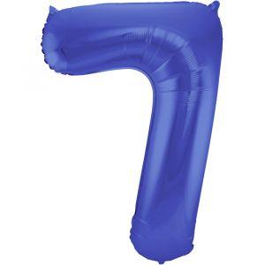 86cm Folieballon Metallic Mat Cijfer 7 Blauw