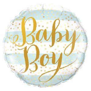 Folieballon Baby Boy blauwe strepen