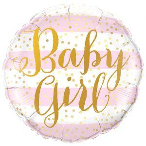 Folieballon Baby Girl roze strepen