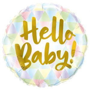 Folieballon Hello Baby! Multi driehoeken