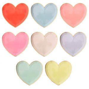 Hartvormige bordjes pastel mix (8st) Meri Meri