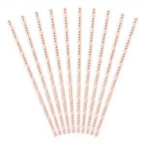 Papieren rietjes Stripes lichtroze-goud (10st)
