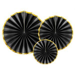 Papieren waaiers zwart-goud (3st)