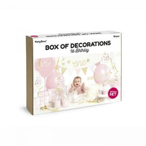 Feestpakket eerste verjaardag roze-goud
