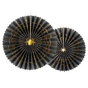 Papieren Waaiers Spin zwart goud (2st)