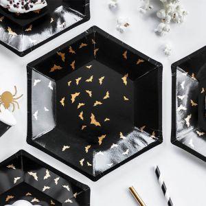 Bordjes vleermuizen zwart-goud (6st)