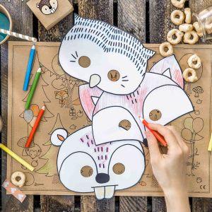 Papieren kindermaskers Woodland (6st)