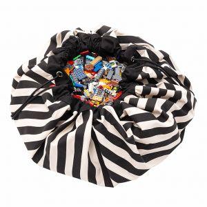 Play & Go opbergzak en speelmat en speelmat Stripes zwart