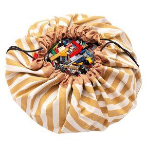 Play & Go opbergzak en speelmat Stripes mosterd