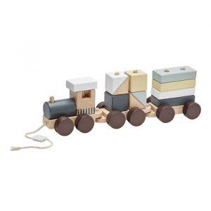 Houten trein met blokken naturel Kids Concept