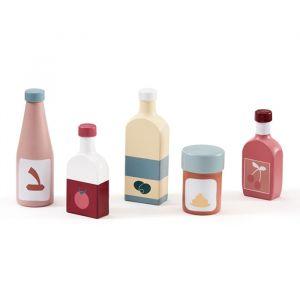 Houten speelset flessen (5st) Kids Concept