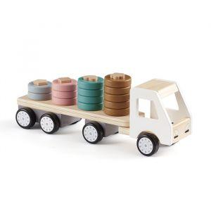 Houten vrachtwagen met stapelringen Aiden Kids Concept
