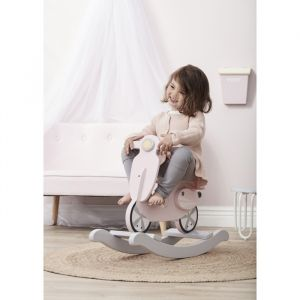 Rocking scooter roze/wit Kids Concept
