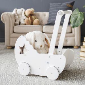 Houten kinderwagen met bedset ster wit Kids Concept