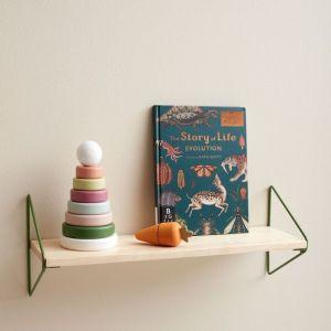 Wandplank hout/metaal groen Kids Concept