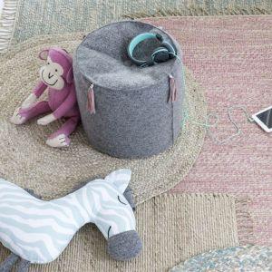 Vloerkleed jute roze (90x180cm) KidsDepot