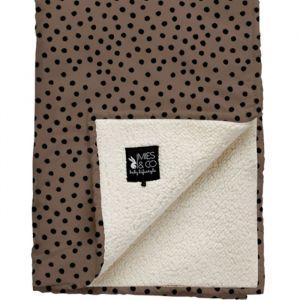 Wiegdeken Soft Teddy Bold Dots dark brown Mies & Co