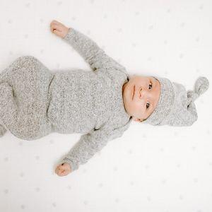 Slaapzak Snuggle Knit heather grey (0-3m) Aden + Anais