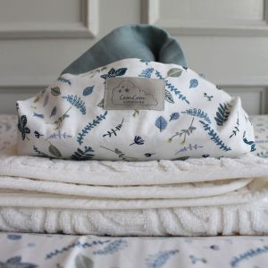 Babydoekjes cover Pressed Leaves blauw CamCam