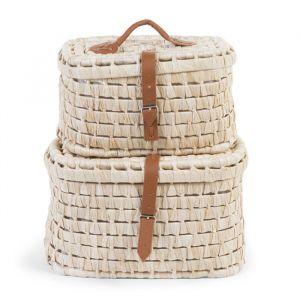 Kofferset naturel-bruin leer (2st) Childhome