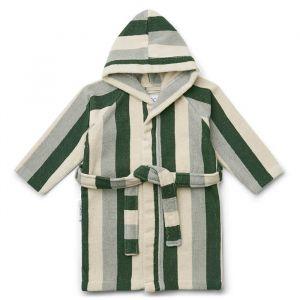 Badjas Reggie Stripe garden green/sandy/blue Liewood