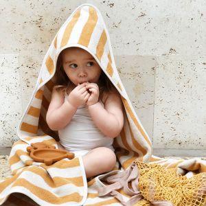 Baby badcape Alba Stripe mustard-creme Liewood