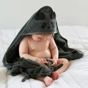 Baby badcape Albert Panda hunter green Liewood