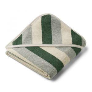 Baby badcape Alba Stripe garden green/sandy/blue Liewood