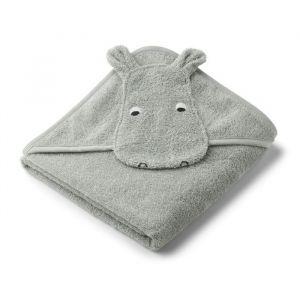 Baby badcape Albert Hippo dove blue Liewood