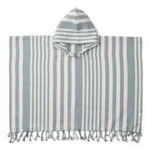Poncho hammam Roomie Stripe sea blue/creme Liewood