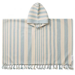Poncho hammam Roomie Stripe sea blue/sandy Liewood