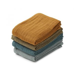 Hydrofiele doeken Leon Whale blue multi mix (4st) Liewood