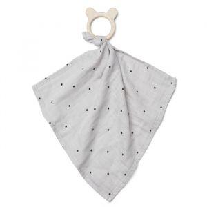 Knuffeldoek met bijtring Dines Dot dumbo grey Liewood