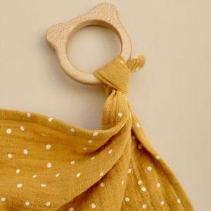 Knuffeldoek bijtring Dines Confetti yellow mellow Liewood