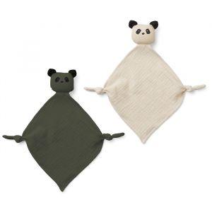 Knuffeldoekjes Yoko Panda hunter green/sandy (2st) Liewood