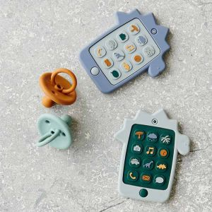 Siliconen speelgoedtelefoon Thomas Dino dove blue Liewood