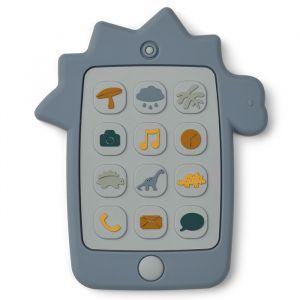 Siliconen speelgoedtelefoon Thomas Dino blue wave Liewood