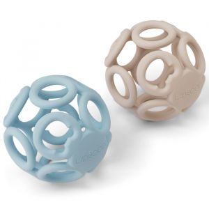 Siliconen speelballen Jasmin sandy/sea blue (2st) Liewood