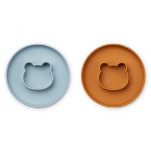 Siliconen borden Gordon Mr bear blue/mustard (2st) Liewood