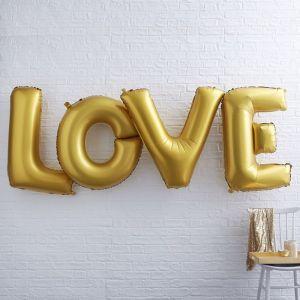 XL Folieballonnen LOVE Goud Ginger Ray