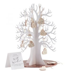 Houten wensboom met houten hartjes (70st) Ginger Ray